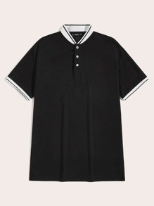 Men Baseball Collar Polo Shirt