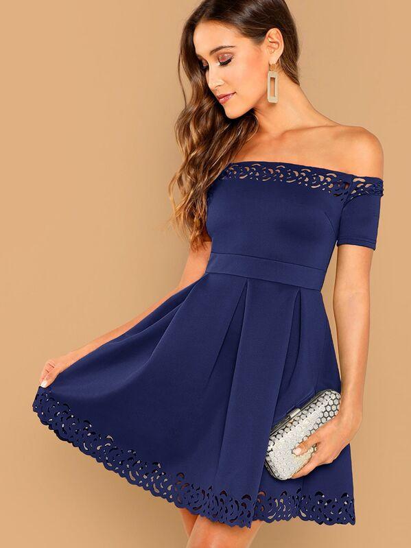 91ff3da47fe Off Shoulder Laser Cut Fit And Flare Dress