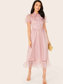 Tie Neck Ruffle Hem Mesh Overlay Dress