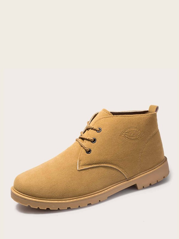 6172a36bf7b Men Lace-up Front Lug Sole Ankle Boots
