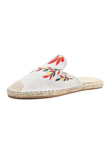 Cap Toe Embroidered Espadrille Flats