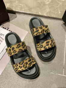 Leopard Print Double Strap Sliders