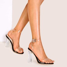 Clear Ankle Strap Chunky Heels