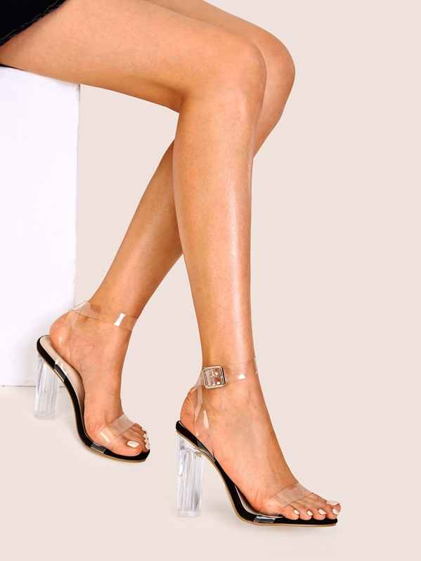 072370985d Clear Ankle Strap Chunky Heels