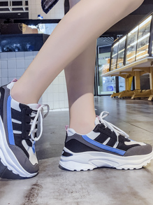 Color Block Lace-up Front Chunky Sole Trainers
