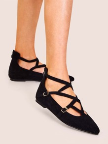 Double Buckle Strap Point Toe Flats