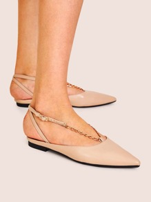 Point Toe Chain Strap Slingback Flats