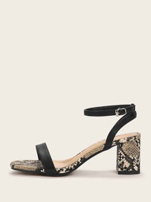 Ankle Strap Snakeskin Chunky Heels