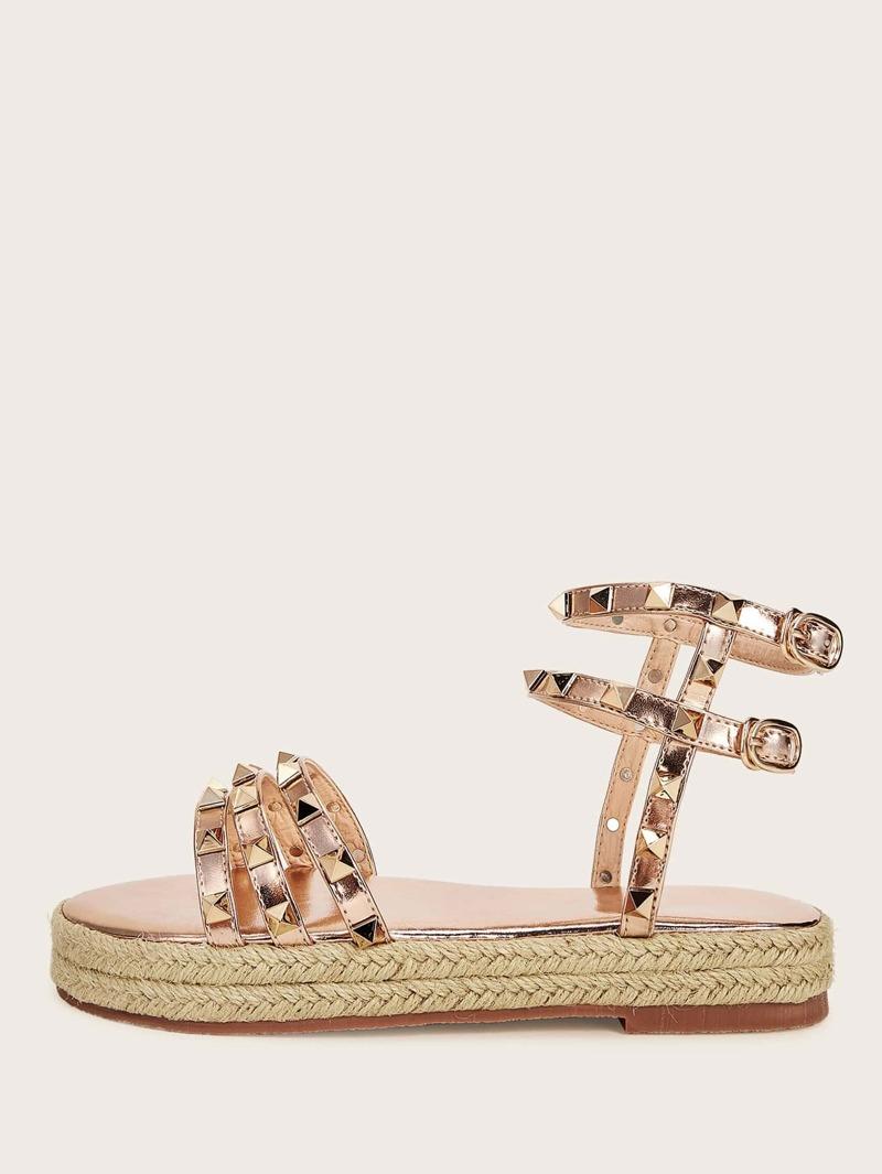 c73b4d53207 Studded Decor Ankle Strap Espadrille Sandals