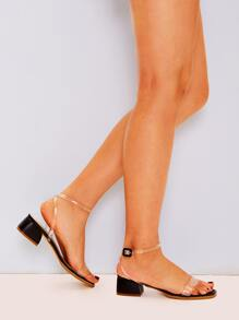 Two Part Ankle Strap Block Heels