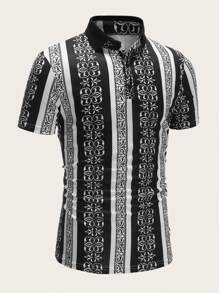 Men Tribal Print Striped Polo Shirt