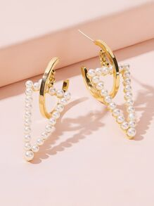 Faux Pear Design Open Triangle Cuff Hoop Earrings 1pair