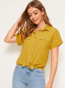 Pocket Button Front Knot Hem Blouse