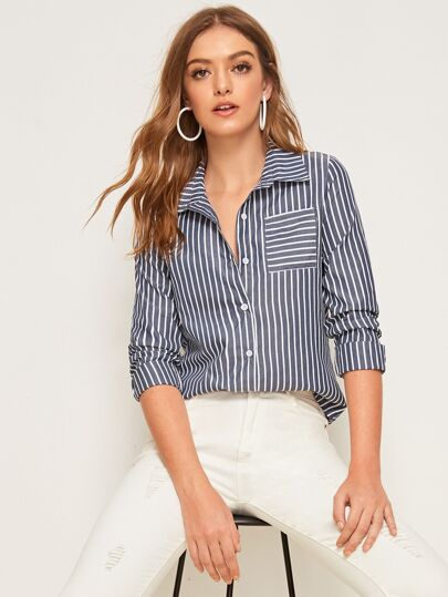 Striped Pocket Button Front Blouse