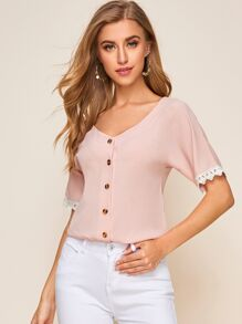 Contrast Lace Cuff Button Front Blouse