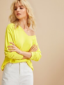 V-neck Drop Shoulder Solid Jumper