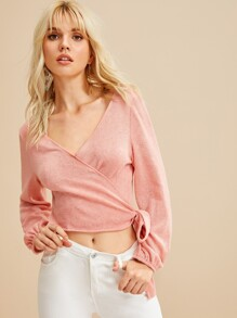 Solid Self Tie Wrap Sweater