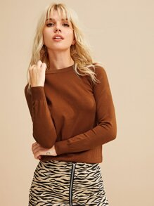 Solid Round Neck Basic Jumper