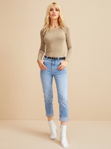 Ribbed Round Neck Solid Jumper