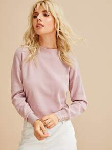 Solid Stand Collar Drop Shoulder Jumper