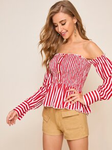 Striped Shirred Button Front Off Shoulder Top