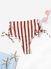 Wide Striped Tie Side Bikini Panty
