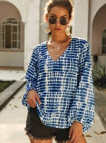 Tie Dye Bishop Sleeve V-neck Blouse