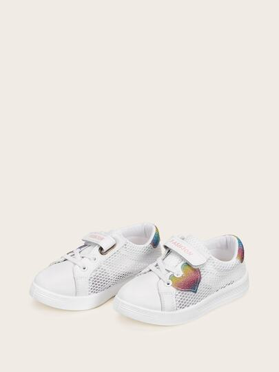 Toddler Girls Glitter Heart Patch Sneakers