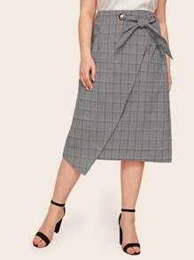 Plus Plaid Tie Front Asymmetrical Hem Skirt