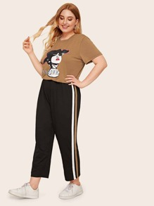 Plus Figure Graphic Tee & Side Striped Pants Set