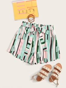 Plus Striped Print Belted Shorts
