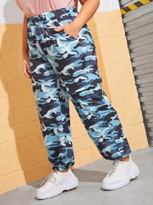 Plus Camo Print Side Pocket Cargo Pants