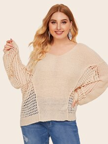 Plus Drop Shoulder Eyelet V-neck Sweater