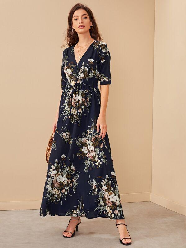 8ce4775677 Floral Print Shirred Waist Button Front Maxi Dress