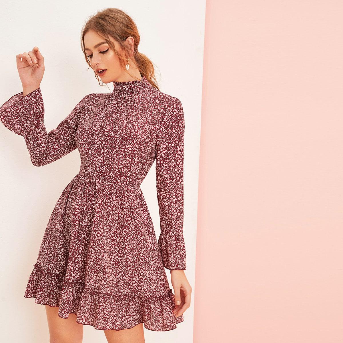 Многослойное платье с цветочным принтом ditsy