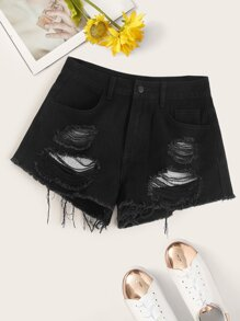 Raw Hem Ripped Detail Denim Shorts