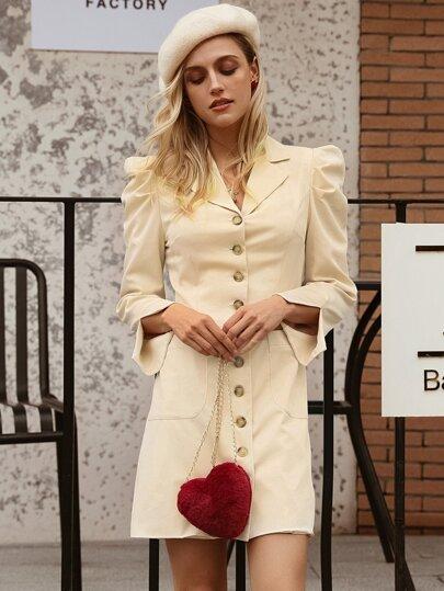 f0b1f6125b Simplee vestido blazer de manga farol con abertura con botón