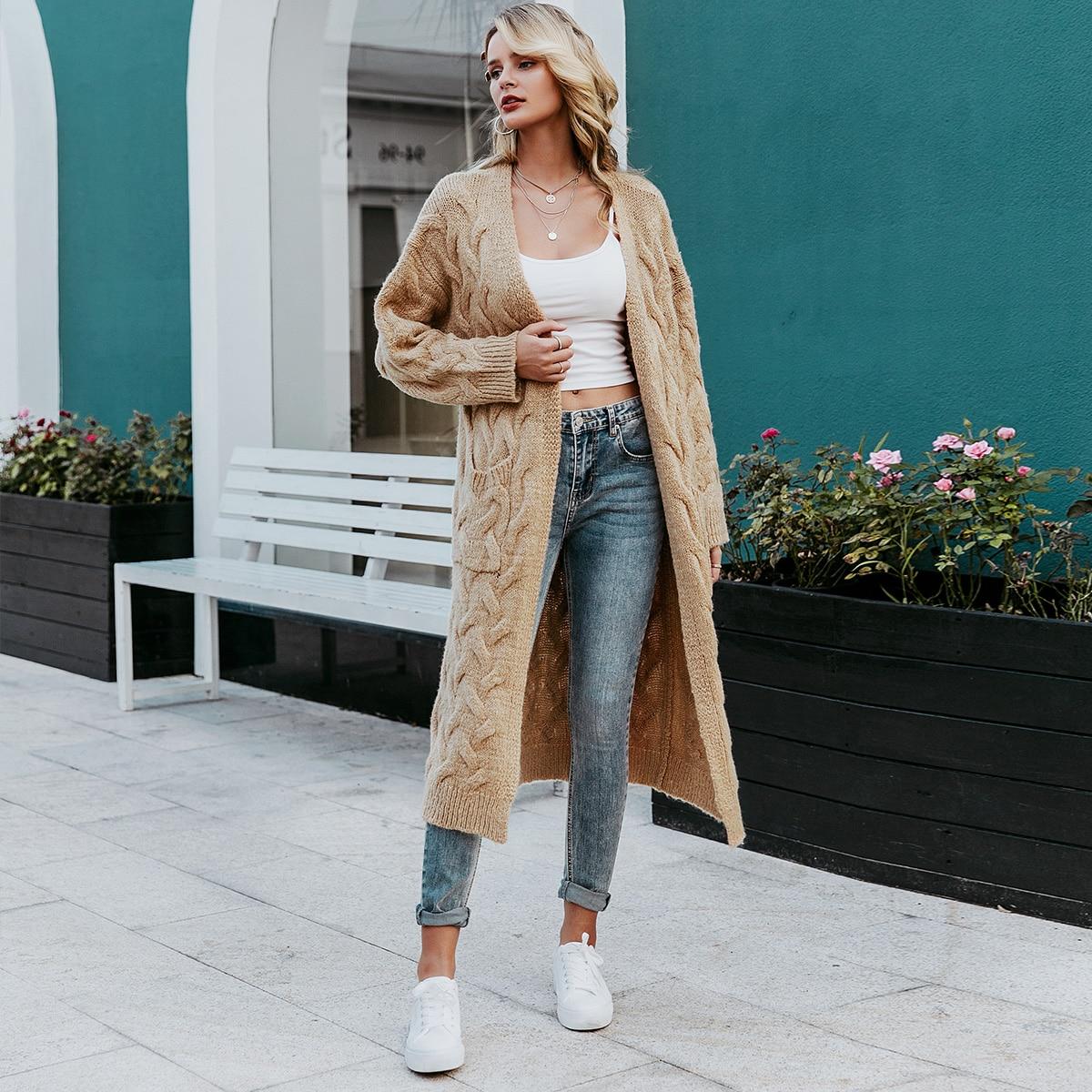 трикотажный длинный свитер-кардиган