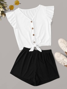 Ruffle Sleeve Ribbed Top & Shorts