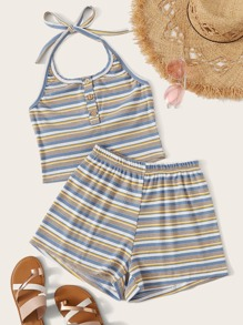Stripe Crop Cami Top & Ribbed Shorts