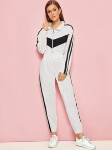 Stripe Side Zip Front Jumpsuit