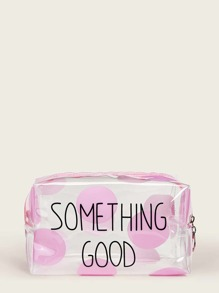 Letter Pattern Transparent Makeup Bag