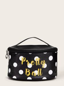 Letter & Polka Dot Pattern Makeup Bag