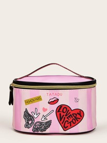 Striped & Letter Pattern Makeup Bag