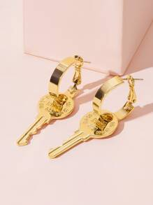 Circle Key Drop Earrings 1pair