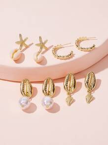 Shell & Starfish Decor Earrings 4pairs