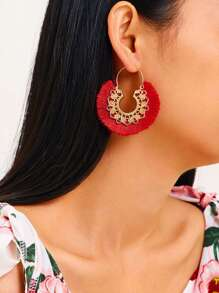 Textured Tassel Drop Earrings 1pair