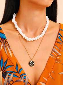 Shell & Round Decor Necklace 2pcs