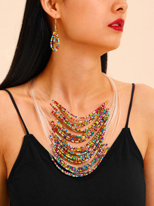 Layered Beaded Design Necklace & Earrings 3pcs
