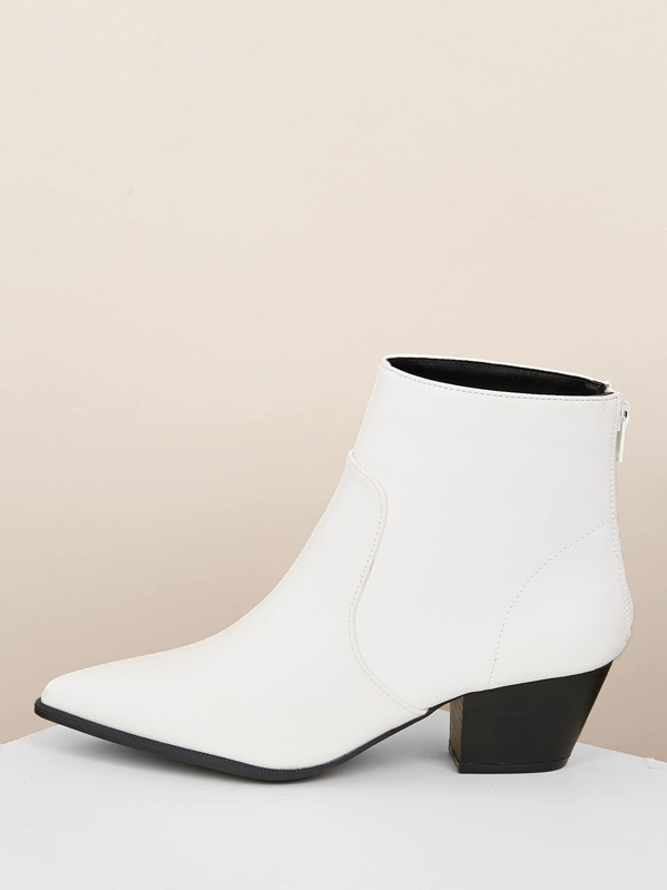 Pointy Toe Block Heel Back Zip Ankle Boots